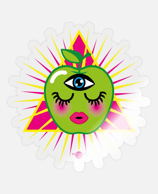 Pyramid Stickers - 57 Apple in a Triangle Magic Eye Humor Pride - Sticker transparent glossy