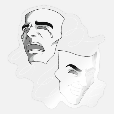 Tragedy The masks of comedy and tragedy - theater - Sticker