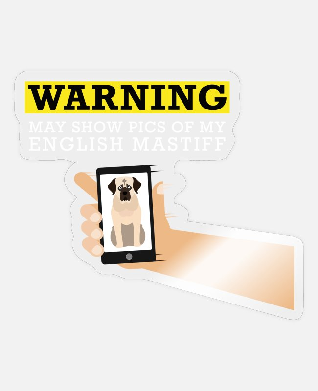 Photography Stickers - English Mastiff Dog Funny Phone Obsessive - Sticker transparent glossy