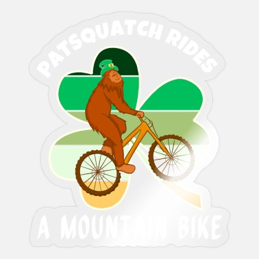 Yeti Bigfoot Rides A Mountain Bike Funny MTB - Sticker