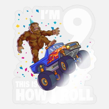 Nessie Ich bin 9 Bigfoot Sasquatch Monster Truck Kinder 9. Bir - Sticker