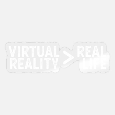 Nerd Glasses Funny Virtual Reality Gaming Gift VR > Real Life - Sticker