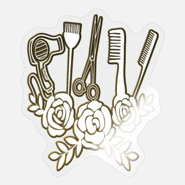 Employee Hairdresser Utensils Wreath Hairdresser Salon Saying - Sticker