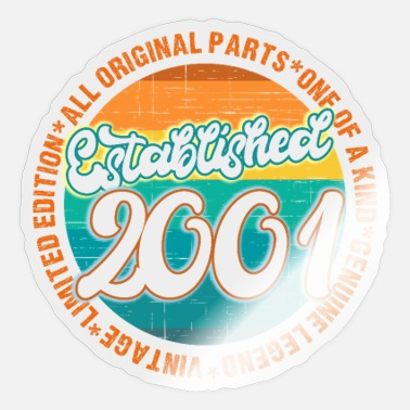 2001 Vintage Established 2001 Born in 2001 - Sticker