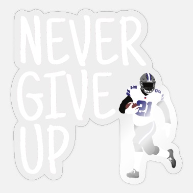 Never Give Up - American Football (blauw/wit) - Sticker