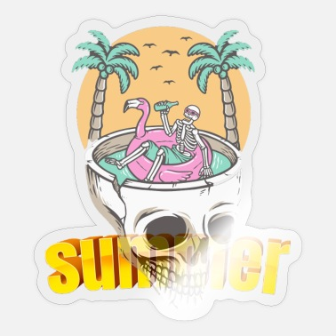 Skull summer holidays - Sticker