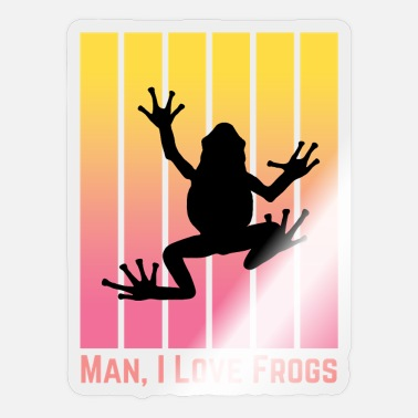 Sunrise Man I Love Frogs Yellow and Pink Stripes - Sticker
