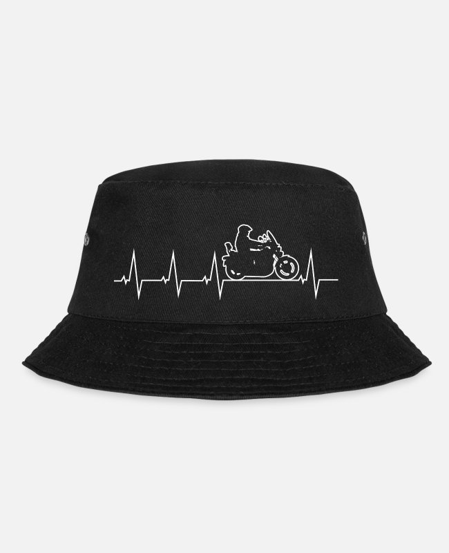 Heart Caps & Hats - I love my motorcycle - forth percussion - Bucket Hat black