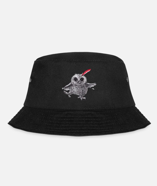 Red Caps & Hats - Chief Red - Happy Owl - Bucket Hat black