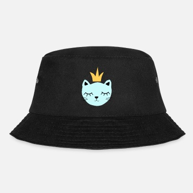 Blue cat with crown - Bucket Hat