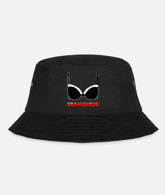 Bra Caps & Hats - Bra Humbug (Bah Humbug) White - Bucket Hat black