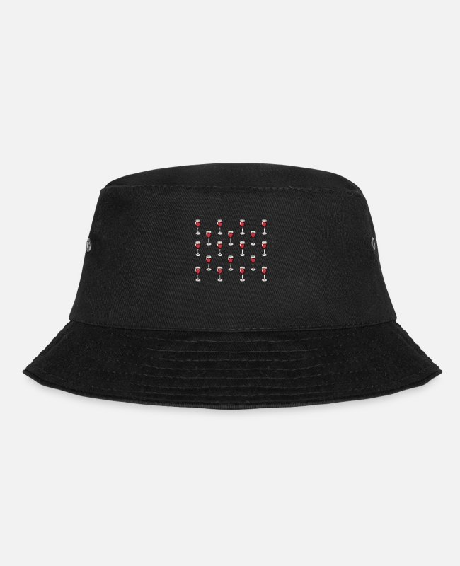 Wine Lover Caps & Hats - Red Wine Wine Alcohol Wine Festival Pattern Gift - Bucket Hat black