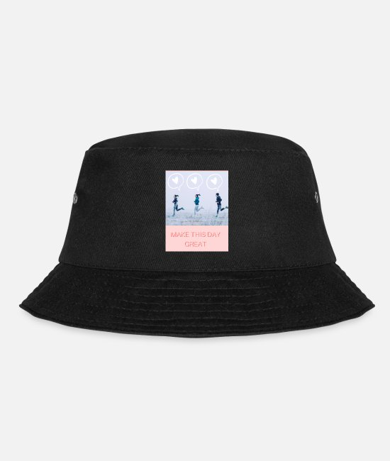 Great Caps & Hats - MAKE THIS DAY GREAT with joggers by the sea - Bucket Hat black