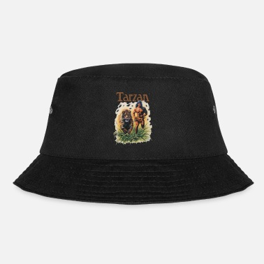 Tarzan Running Lion Through Wilderness - Bucket Hat