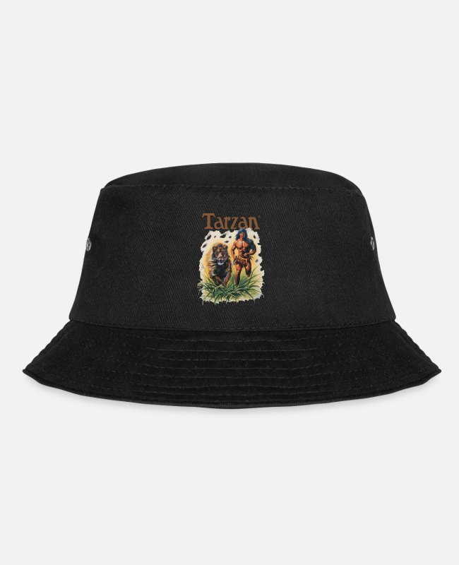 Friendship Caps & Hats - Tarzan Running Lion Through Wilderness - Bucket Hat black