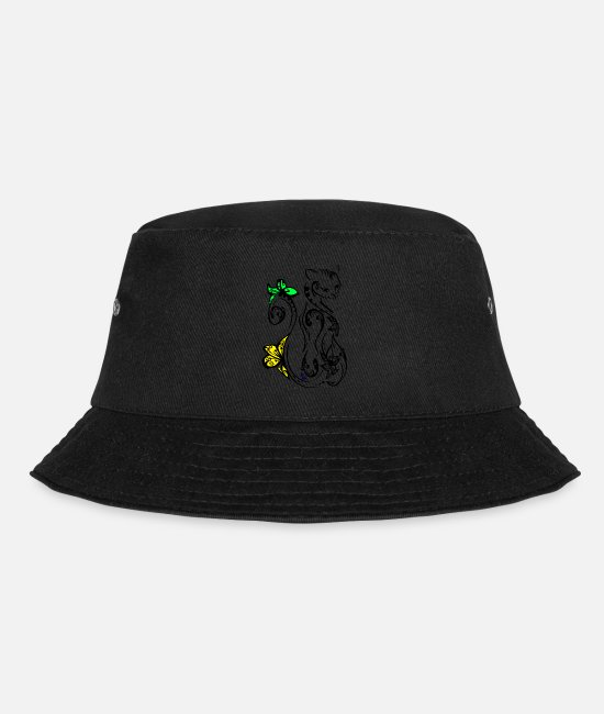 Egype Caps & Hats - tribal cat v1 by dk - Bucket Hat black