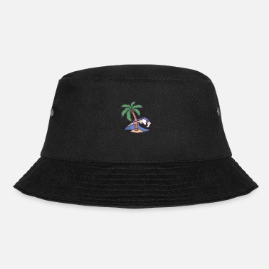 Blues Waves and Palm Tree - Bucket Hat
