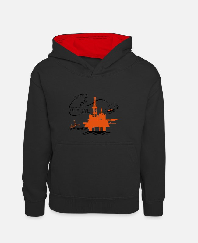 Occupation Hoodies & Sweatshirts - Cormorant Oil Rig North Sea Aberdeen - Kids' Contrast Hoodie black/red
