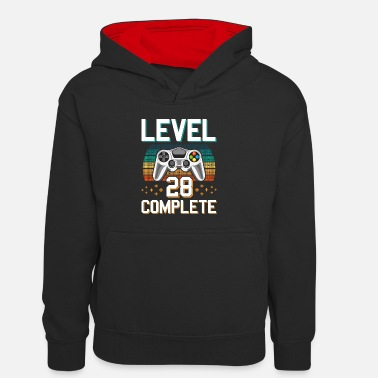 Pc Level 28 Complete 28 Years of Gamer Gamer - Kids' Contrast Hoodie