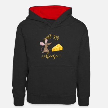 Just Say Cheese For Kids The Mouse Loves Cheese I - Kids' Contrast Hoodie