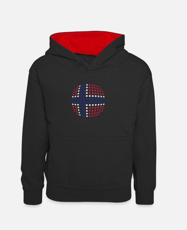 Cute Hoodies & Sweatshirts - Norway flag (Dotted) - Kids' Contrast Hoodie black/red