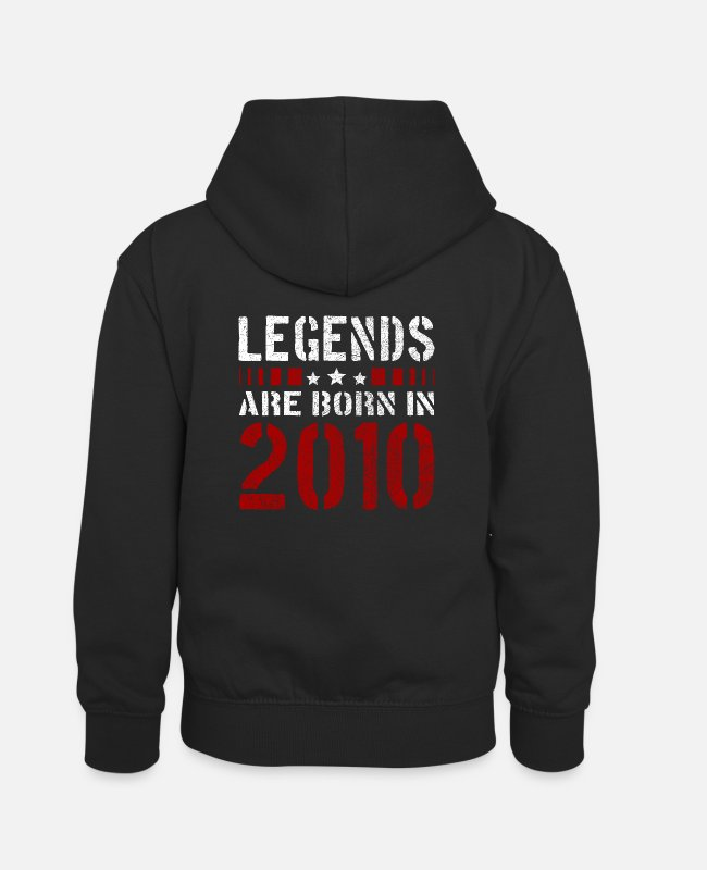 Proud Hoodies & Sweatshirts - LEGENDS ARE BORN IN 2010 BIRTHDAY CHRISTMAS SHIRT - Kids' Contrast Hoodie black/red