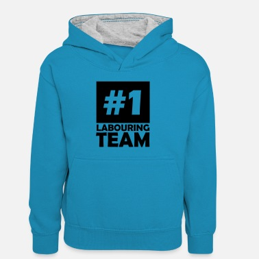 Labour number one labouring team - Kids' Contrast Hoodie