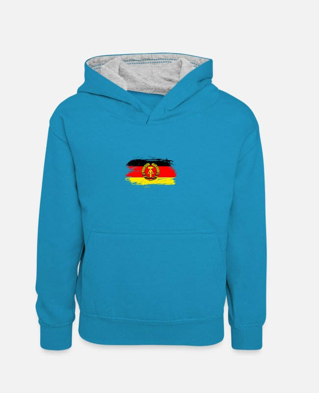 Social Hoodies & Sweatshirts - GDR flag design / gift idea - Kids' Contrast Hoodie peacock blue/heather grey