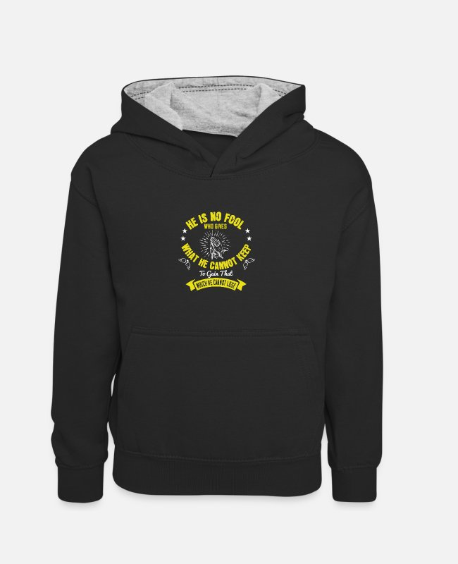 Easter Hoodies & Sweatshirts - Religion -God is no fool giving what he can't keep - Kids' Contrast Hoodie black/heather grey