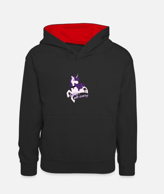 D0020005A Hoodies & Sweatshirts - Sexy Gothic Unicorn / Sexy Unicorn - Teenager Contrast Hoodie black/red