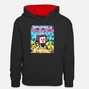 Television brainwashed by television - Teenager Kontrast-Hoodie