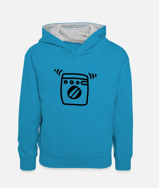 Clean (what It Is) Hoodies & Sweatshirts - Washing machine - Line - Teenager Contrast Hoodie peacock blue/heather grey