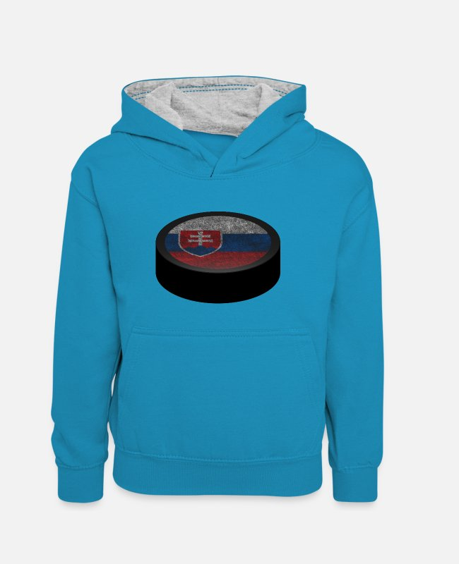 Fan Hoodies & Sweatshirts - Hockey Puck (Slovakia) - Teenager Contrast Hoodie peacock blue/heather grey