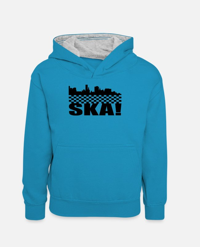 Ska Punk Hoodies & Sweatshirts - SKA - Teenager Contrast Hoodie peacock blue/heather grey