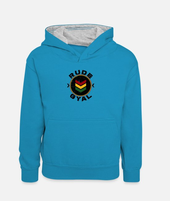 Rastafari Hoodies & Sweatshirts - Rude Gyal - Teenager Contrast Hoodie peacock blue/heather grey