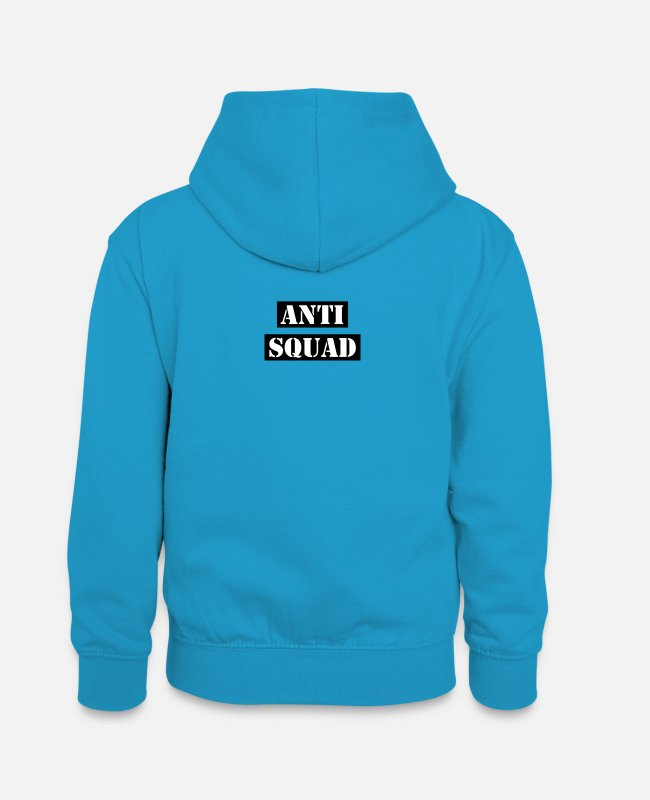 Against Pullover & Hoodies - Anti Squad - Teenager Kontrast-Hoodie Pfauenblau/Grau meliert