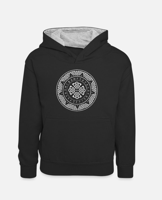 Thor Hoodies & Sweatshirts - Wikinger Runen Design - Teenager Contrast Hoodie black/heather grey