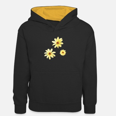 Yellow Dahlia watercolour flowers - Teenager Contrast Hoodie