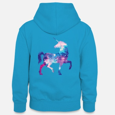 Unicorn with constellation design - Teenager Contrast Hoodie
