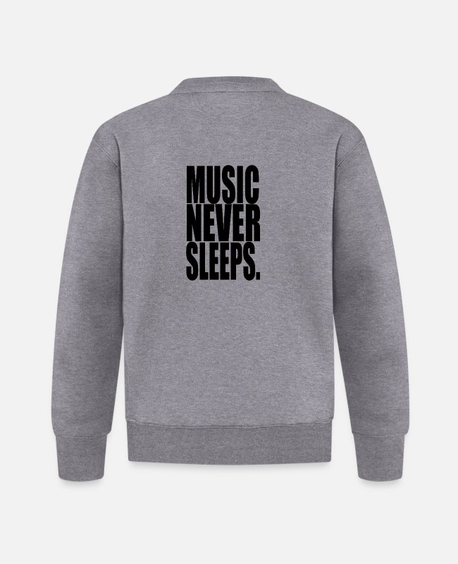Trendy Jacken - MUSIC NEVER SLEEPS! Cool Shirt - Baseball Jacke Graphit meliert