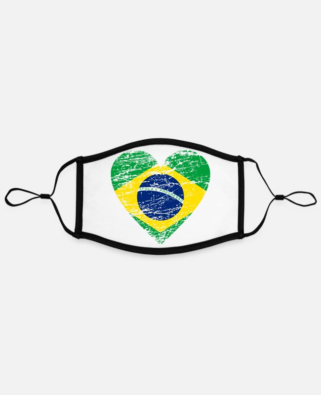 South America Face Masks - Brazil Flag Vintage Heart Distressed South America - Contrast mask, adjustable (large) white/black