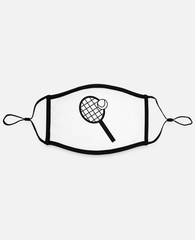 Tennis Club Face Masks - Tennis tennis lovers tennis tennis racket - Contrast mask, adjustable (large) white/black