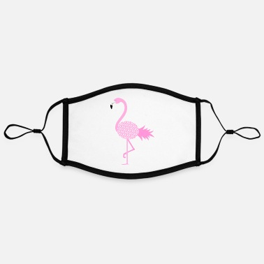 Illustration Pineapple Flamingo Illustration - Mascarilla contraste, ajustable (grande)