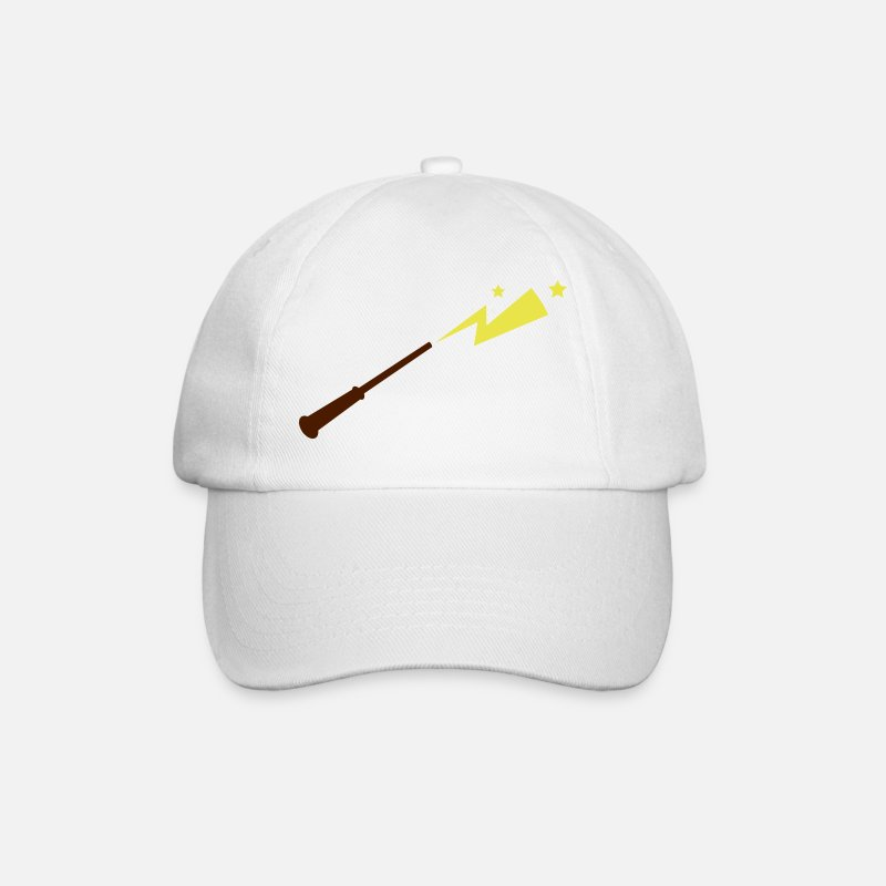 Halloween Caps & Hats - simple magic wand with sparks and stars magical!  - Baseball Cap white/white