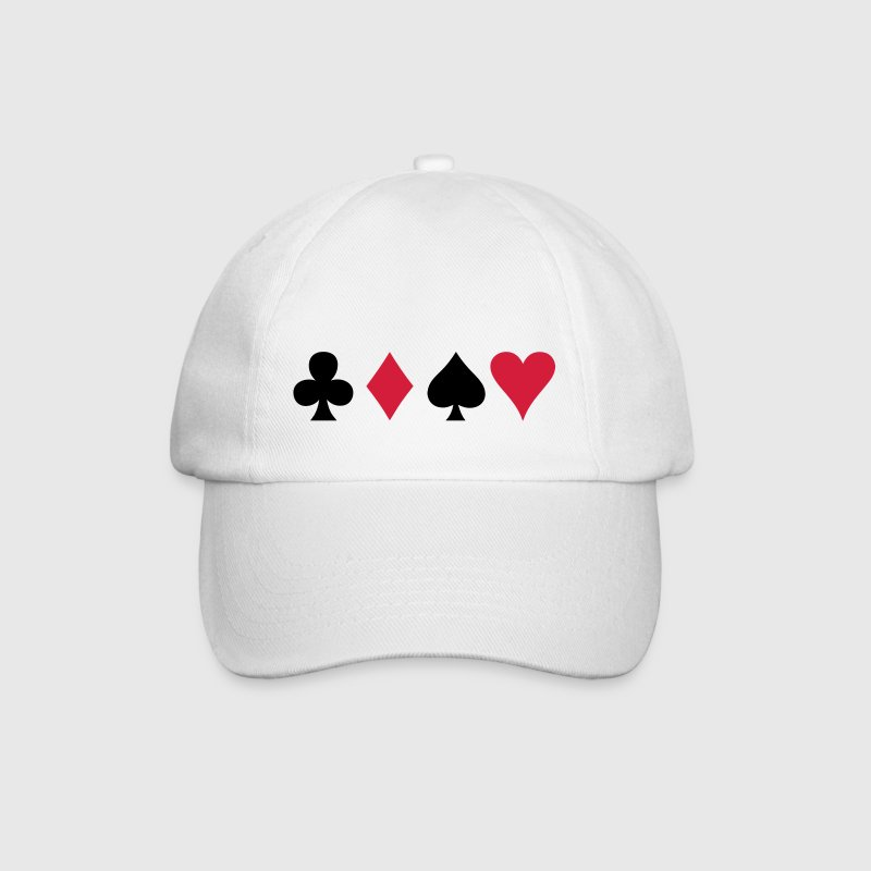 ALL FOUR poker cards card suits in a row - Baseball Cap