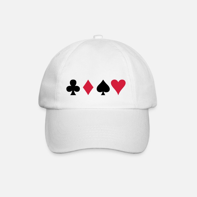 Poker Caps & Hats - ALL FOUR poker cards card suits in a row - Baseball Cap white/white