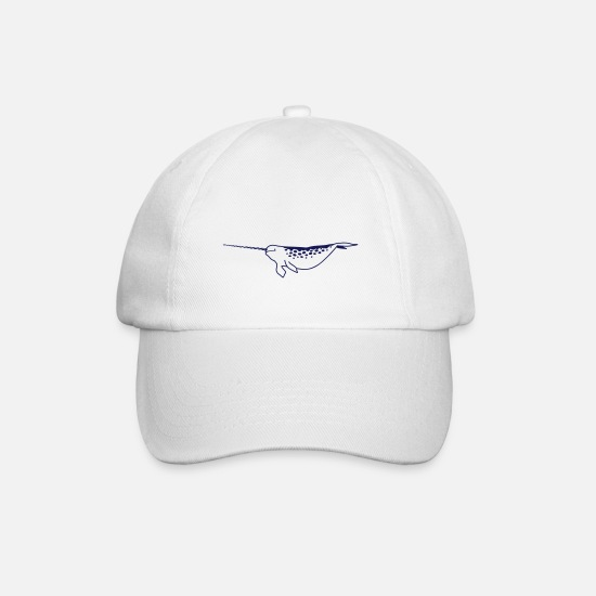 Marine Animal Caps & Hats - narwhal - Baseball Cap white/white