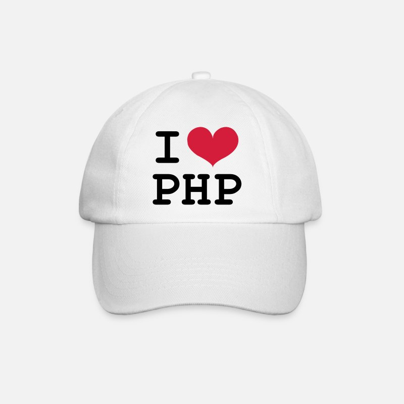 Birthday Caps & Hats - I Love PHP [Developer / Geek] Caps & Hats - Baseball Cap white/white