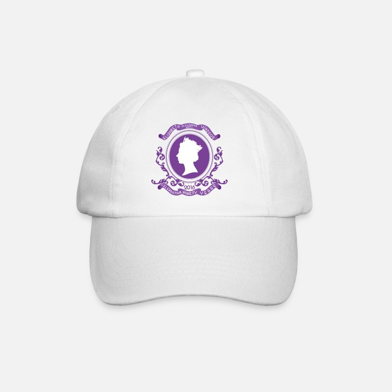 90th Birthday Caps & Hats - Queen Elizabeth Birthday - Baseball Cap white/white