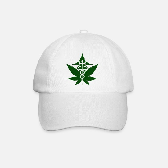 Hemp Caps & Hats - Caduceus in Grass - Baseball Cap white/white